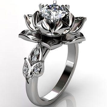14k white gold diamond unusual unique lotus flower engagement ring, bridal ring, wedding ring ER-1076-1