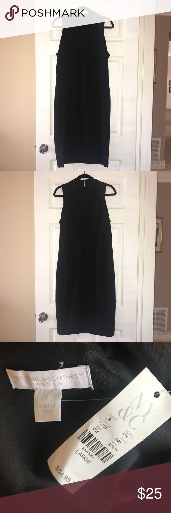 New York & Company Black Midi Dress Purchased a couple of years ago. NEVER WORN!! BRAND NEW!! Tags are still attached. No flaws, no defects, no damages, no stains, no signs of wear.   Sizing runs true to size.  My mom tried this on, she's 5'9, weighs about 170 pounds and has 36D breasts and it fit her perfectly.  It does have a stretchy material. Extremely versatile.   NO TRADES!! NO MODELING!! PRICE IS FAIR, FIRM & FINAL!! ALL OFFERS WILL BE DECLINED! New York & Company Dresses Midi