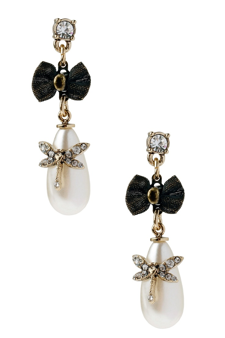 Betsey Johnson Pearl Dragonfly Drop Earrings