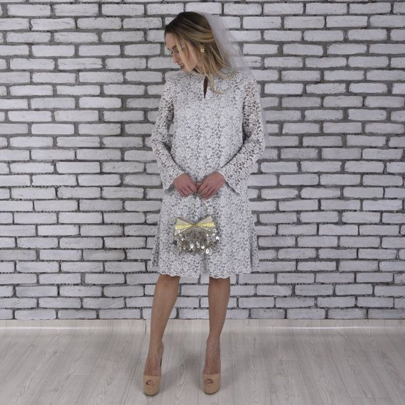 Gray Lace Mod Midi Long Sleeve Wedding Dress by TheDearestBridal