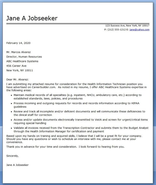 Information Management Cover Letter