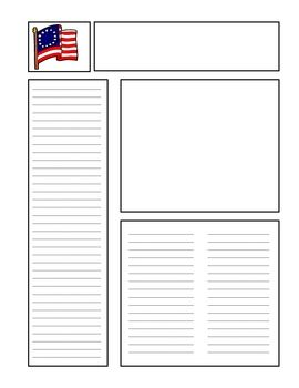 Revolutions american revolution and newspaper on pinterest for Free printable newspaper template for students