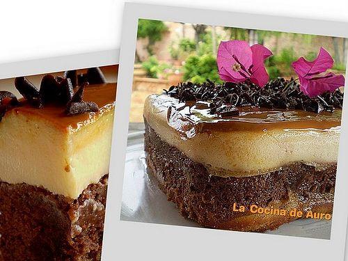 tarta magica de flan y bizcocho de chocolate
