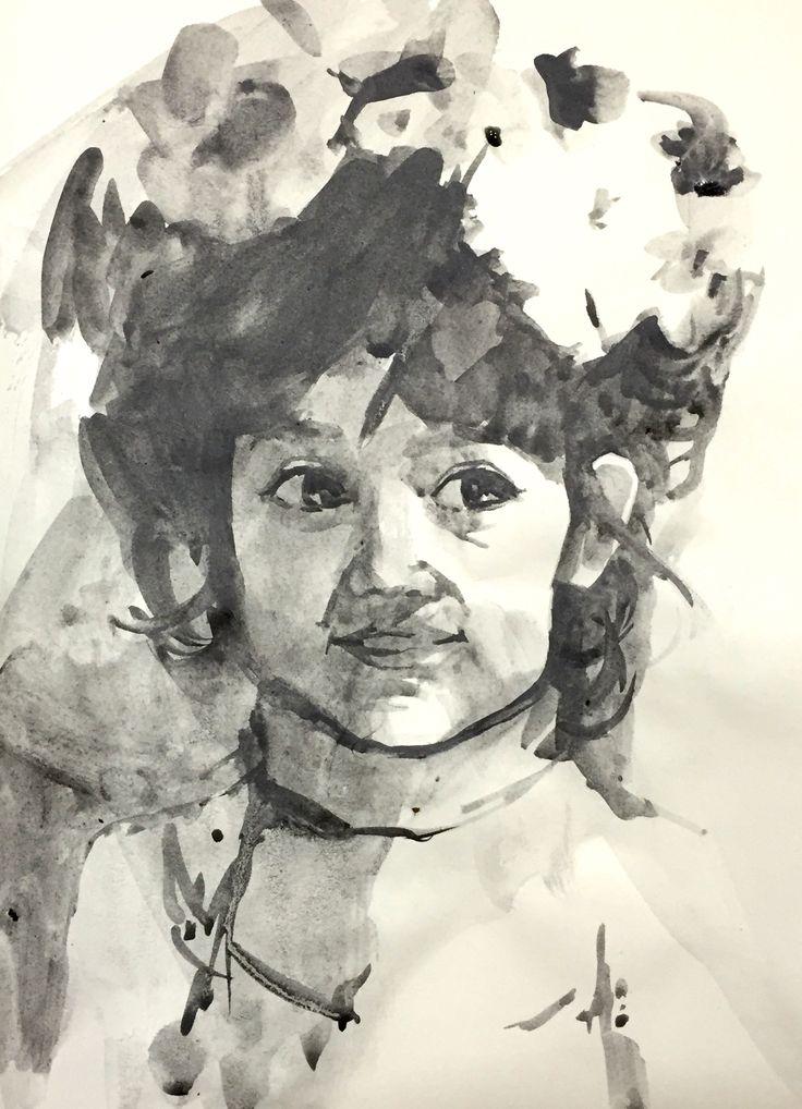 Figura de niña de una foto de internet, realizada con grafito acuarelable ARTGRAF