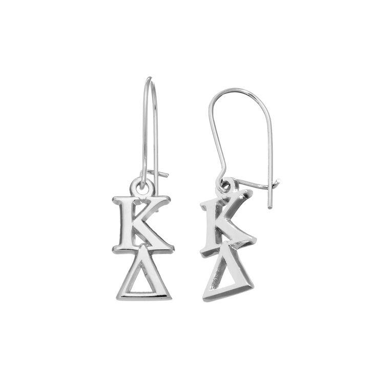 LogoArt Kappa Delta Sorority Drop Earrings, Women's, Grey
