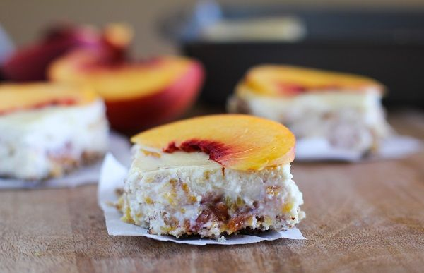 Peach Almond Yogurt Cheesecake Bars  with gluten free almond crust   naturally sweetened and healthy! @noosayoghurt