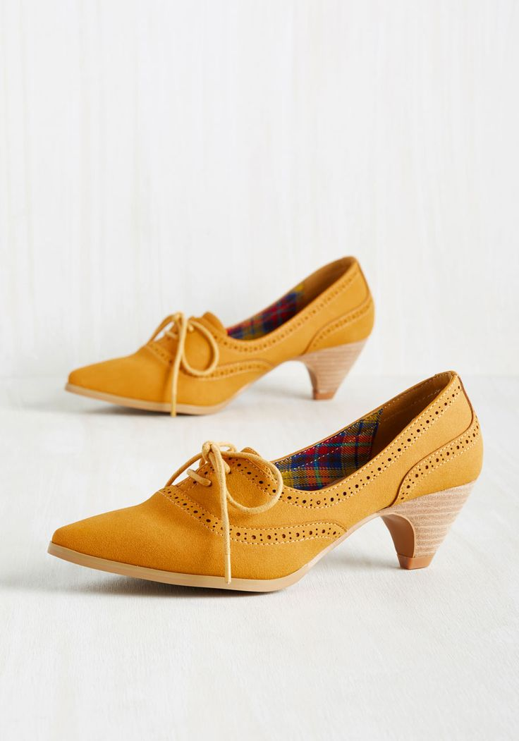 Exam Day Elegance Heel in Sunflower. You dress the part of an A achiever in these Oxford heels! #yellow #modcloth
