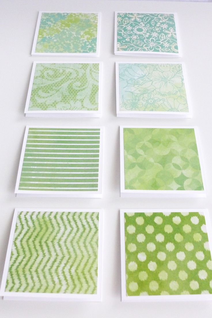 Green Pattern Mini Note Cards by Athena's Craft Room on Etsy #handmade #3x3 #ministationery #notecards #cards #thankyou