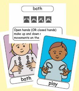 48 of the most useful FIRST SIGNS for babies and young children.  Large image of the sign and word on one side and fingerspelt word and simple description of movements on the reverse. These new FLASHCARDS are part of the 'LET'S SIGN EARLY YEARS Series' - a collection of British Sign Language (BSL) resources for babies and pre-school children, deaf or hearing. Developed by Deaf and hearing co-workers in response to the need for more and better BSL materials for schools and in the home.
