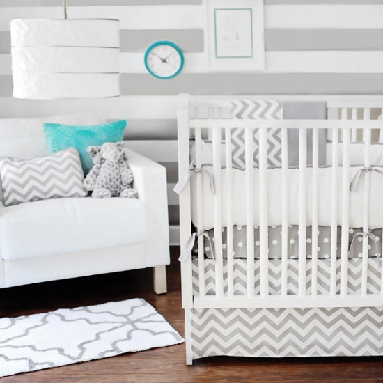 Zig Zag Baby Crib Bedding Add Blue And Pink Accessories For Boy Girl