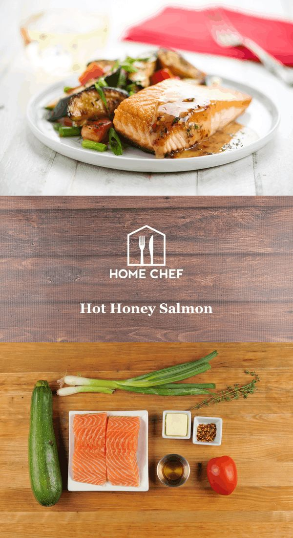 We've been on a hot honey kick at Home Chef HQ, and once you taste this, you'll be in full agreement. The combination of red pepper flakes, honey, and butter pairs perfectly with the flaky, delicate salmon. This tastebud explosion is served with a side of thyme-flavored zucchini and tomatoes. We plan on spreading the hot honey gospel for menus to come.