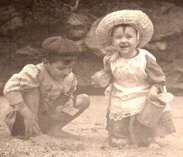 Two children playing on the beach, Manly Quarantine Station early 1900s