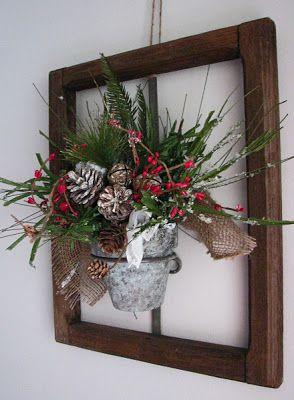 old window, mounted galvanized pail, change the greenery seasonally