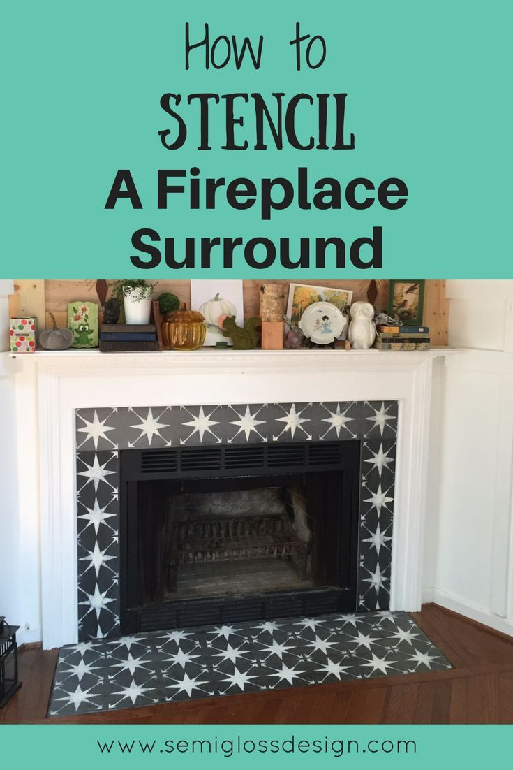 The Easiest Way To Paint Fireplace Tile Using A Stencil Paint Fireplace Paint Fireplace Tile Fireplace Tile