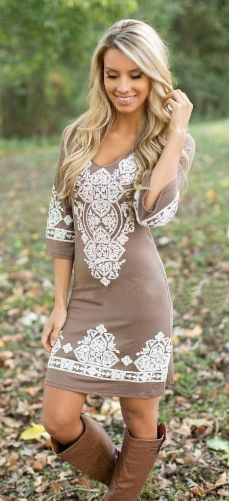 summer outfits  Brown Lace Dress + Brown Boots