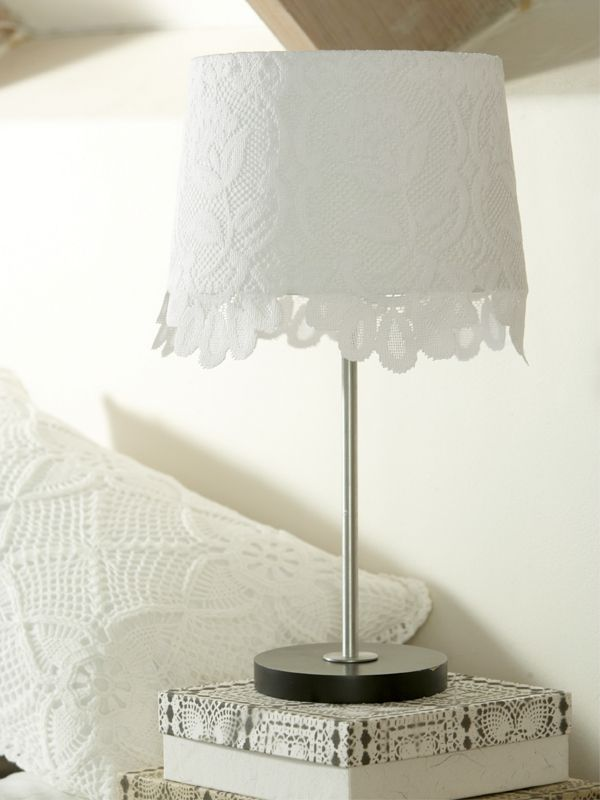 diy lace lamp shade with mod podge or sewn on.