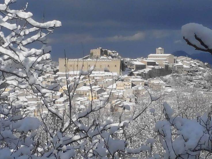 Montalbano Elicona with snow. Winter 2014-15. Sicily