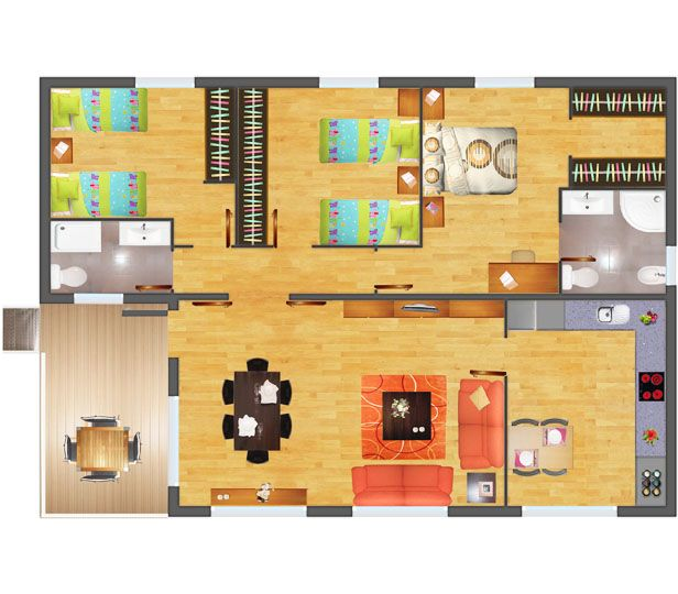 22 best images about distribuci n casa on pinterest tes for Casas rectangulares