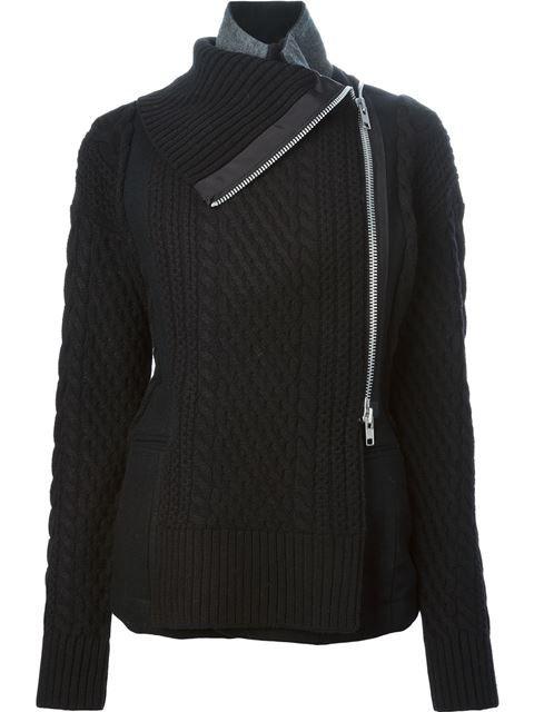 Shop Sacai cable knit details asymmetric zip jacket