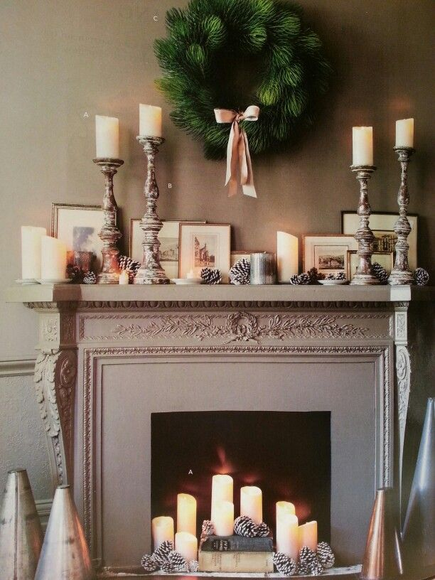 Lovely simple Christmas mantle... Balsam Hill catalog 2014