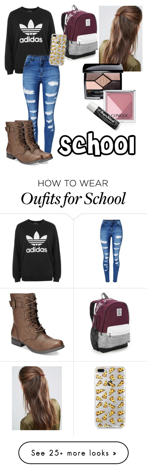 """School"" by erbrock on Polyvore featuring adidas, WithChic, American Rag Cie, DesignB London, Christian Dior, Clinique, Chapstick and Victoria's Secret"