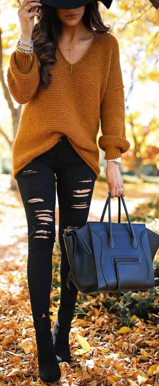 #fall #outfit #ideas | Camel Knit + Black Denim