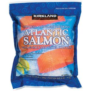 Kirkland Signature B/S Atlantic Salmon Fillets 3 lbs. Grill it frozen in foil, don't season too much, it taste fancy, great quality! Only at Costco ;) ~ @ $14.89