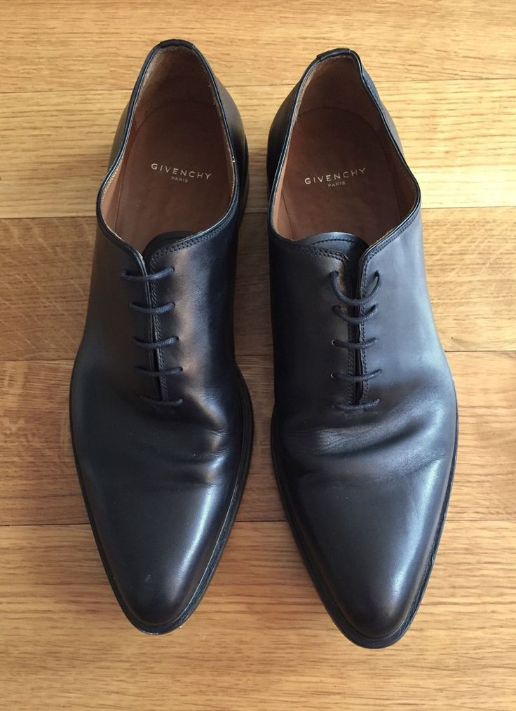 GIVENCHY Mens Whole Cut Black Leather Dress Shoes $1225 Size 45 US 12 AW2015