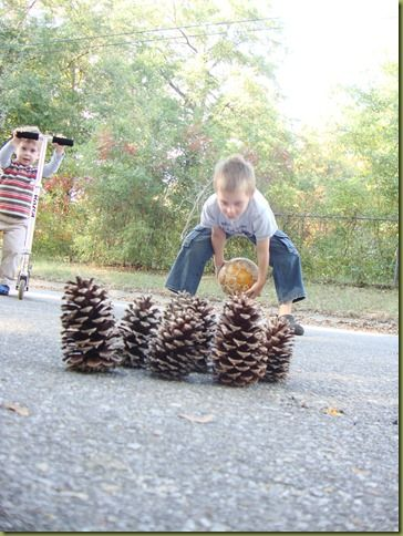Bowling for Pinecones. A great outdoor activity for children!