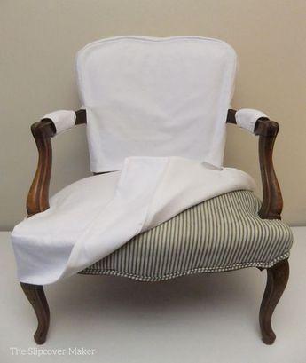 Simple White Denim Slipcover for French Chair | The Slipcover Maker