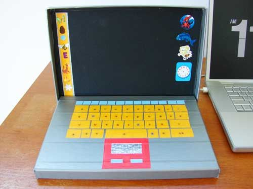 a laptop for your kids out of a box duct tape and stickers craft ideas pinterest kids. Black Bedroom Furniture Sets. Home Design Ideas