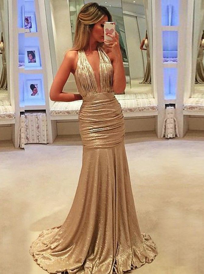85ae93aa5a Mermaid Deep V-Neck Sleeveless Ruched Gold Sequined Prom Dress in ...