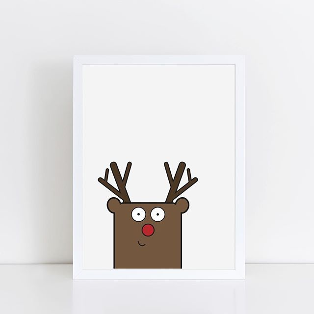 Peekaboo Rudolph!  Christmas print available from The Little Jones Co