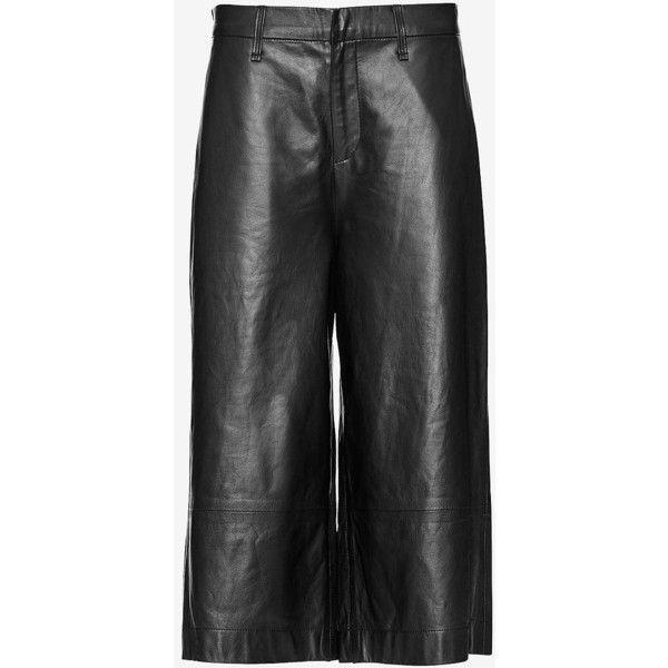 rag & bone/JEAN Gaucho Leather Short: Black ($895) ❤ liked on Polyvore