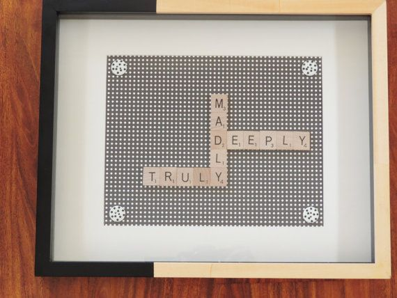 Scrabble+Art+'Truly+Madly+Deeply'+frame.+by+SpellingBeeArt+on+Etsy,+$34.00