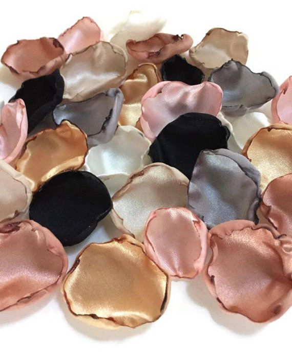 Blush pink, silver, ivory, champagne, black, gold and rose quartz flower petals, flower girl petals, wedding table decor