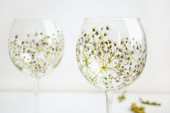 Red Wine Glasses Baby's Breath Collection by yevgenia on Etsy