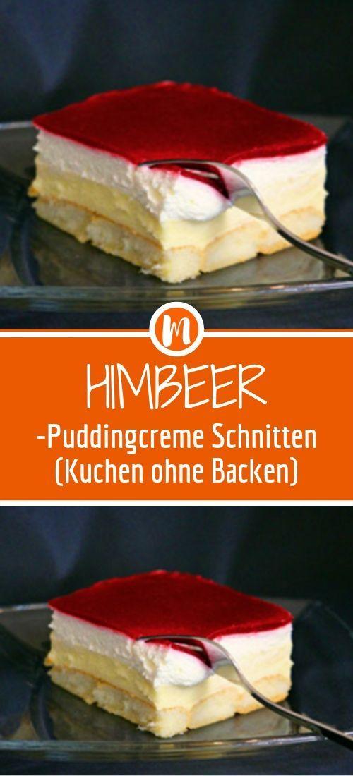 Himbeer-Puddingcreme Schnitten (Kuchen ohne Backen)