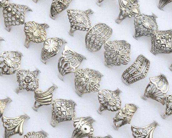 Barato Atacado 30 Pcs jóias granéis lotes mistos do Vintage oco tibete prata P anéis, Compro Qualidade Anéis diretamente de fornecedores da China:                           Descrição                                :