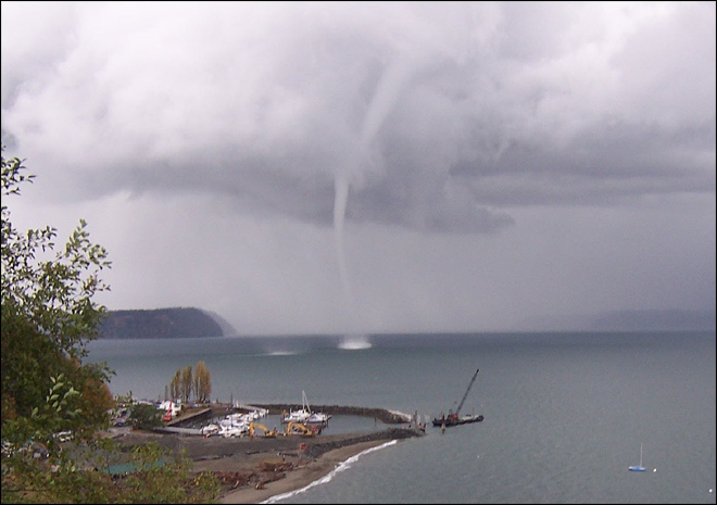 Rare waterspout touches down near Everett, WA...close to ...