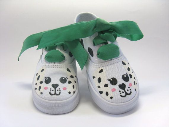 Girls Dalmatian Shoe, Hand Painted, Baby and Toddler, Kids, M2MG,  Dog Sneaker