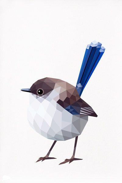 Blue Wren Female Geometric illustration bird by tinykiwiprintshttp://www.etsy.com/shop/tinykiwiprints?ref=l2-shopheader-name