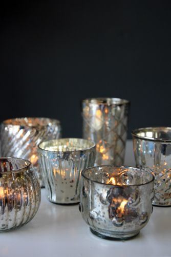 Set of Six Silver Tea Light Holders