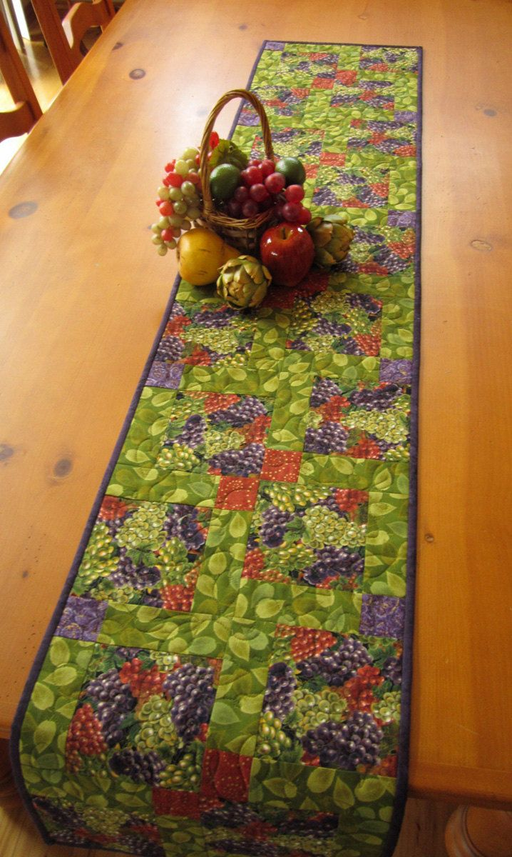 Handmade Quilted Table Runner Grape Clusters by patchworkmountain.com