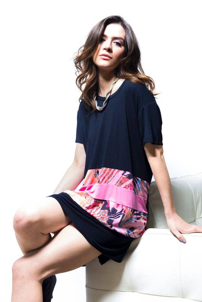 A Postcard From Brighton Taylor Tropical Pink & Black T-shirt Dress
