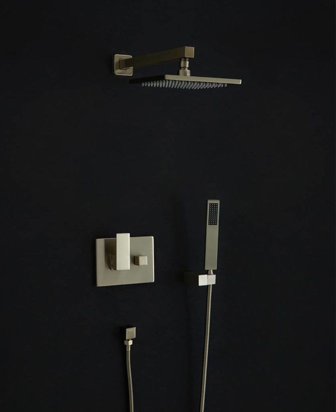 Hannoki Rainfall Shower Head Arm And Hose Set Wall Mounted In