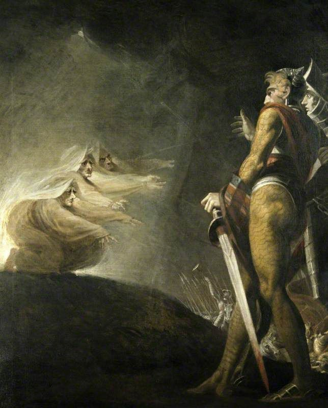 #Gothic Fantasy. Macbeth, Banquo and the witches 1794, Fuseli
