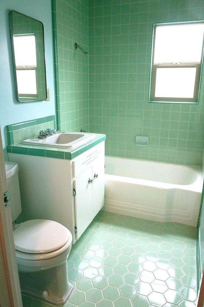 Modern Green Bathroom Makeover Inspirehouseideas Com Green Bathroom Green Tile Bathroom Retro Bathrooms
