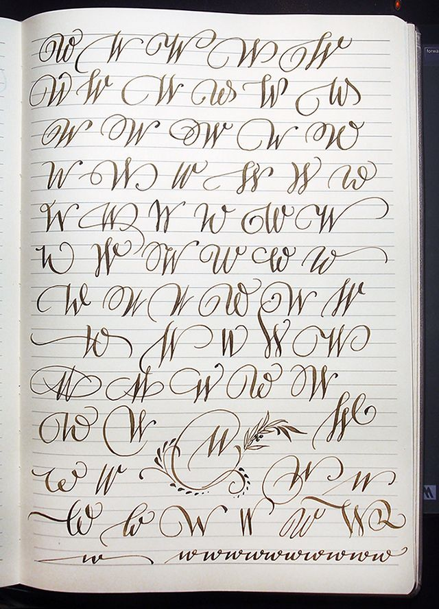 Majuscule W variants by Polish calligrapher Barbara Galinska on Behance