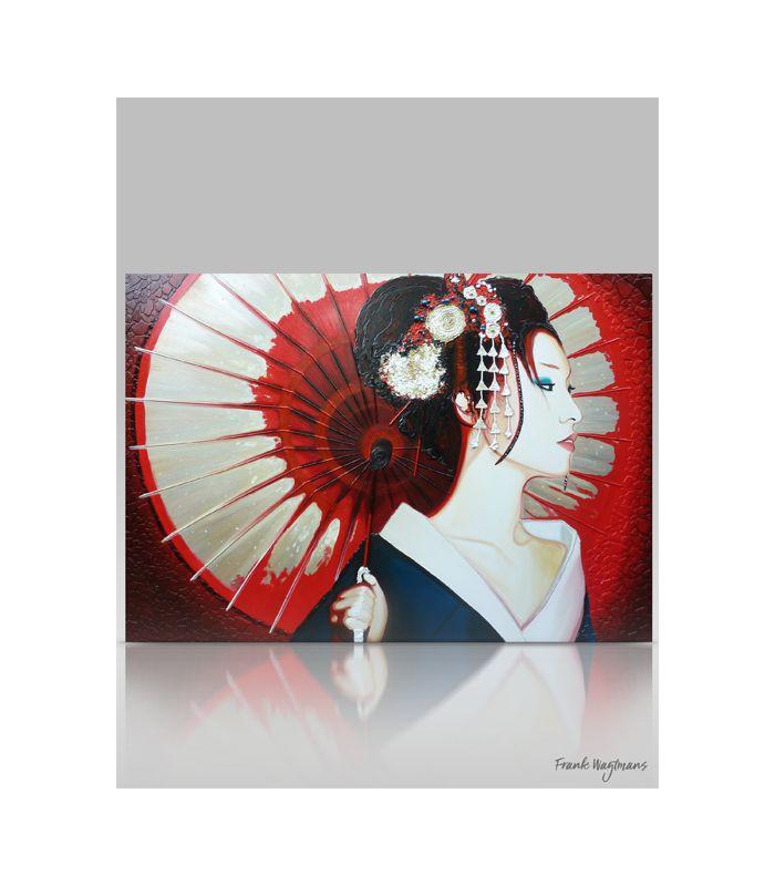 Schilderij uit de serie Becoming a Geisha van Wagtmans. Zeer uniek kunstwerk van een geisha in profiel met Japanse parasol. De afmeting van dit grote schilderij is 140x200 centimeter. 3D effect gecreëerd door luxe reliëf materialen.